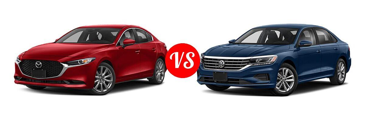 2021 Mazda 2 Sedan Preferred vs. 2021 Volkswagen Passat Sedan 2.0T S / 2.0T SE - Front Left Comparison