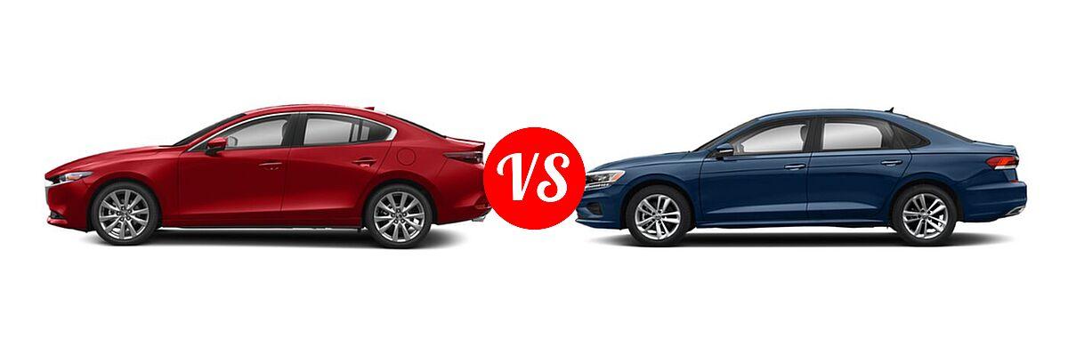 2021 Mazda 2 Sedan Preferred vs. 2021 Volkswagen Passat Sedan 2.0T R-Line - Side Comparison