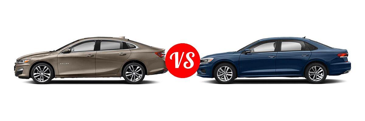 2021 Chevrolet Malibu Sedan Premier vs. 2021 Volkswagen Passat Sedan 2.0T R-Line - Side Comparison