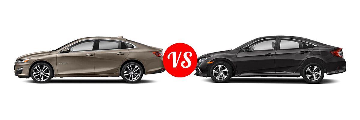 2021 Chevrolet Malibu Sedan Premier vs. 2021 Honda Civic Sedan LX - Side Comparison