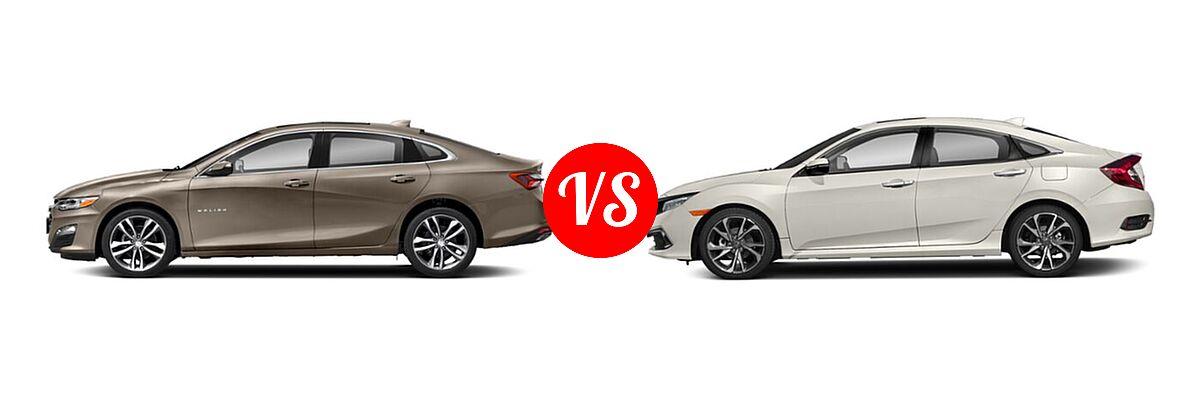 2021 Chevrolet Malibu Sedan Premier vs. 2021 Honda Civic Sedan Touring - Side Comparison