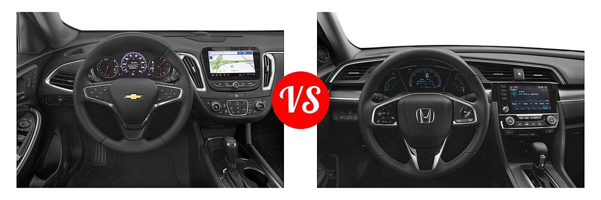 2021 Chevrolet Malibu Sedan Premier vs. 2021 Honda Civic Sedan EX-L - Dashboard Comparison