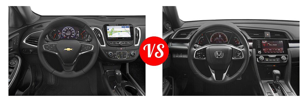 2021 Chevrolet Malibu Sedan Premier vs. 2021 Honda Civic Sedan Sport - Dashboard Comparison