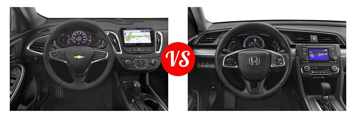 2021 Chevrolet Malibu Sedan Premier vs. 2021 Honda Civic Sedan LX - Dashboard Comparison