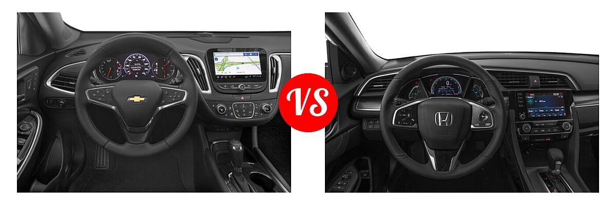 2021 Chevrolet Malibu Sedan Premier vs. 2021 Honda Civic Sedan EX - Dashboard Comparison