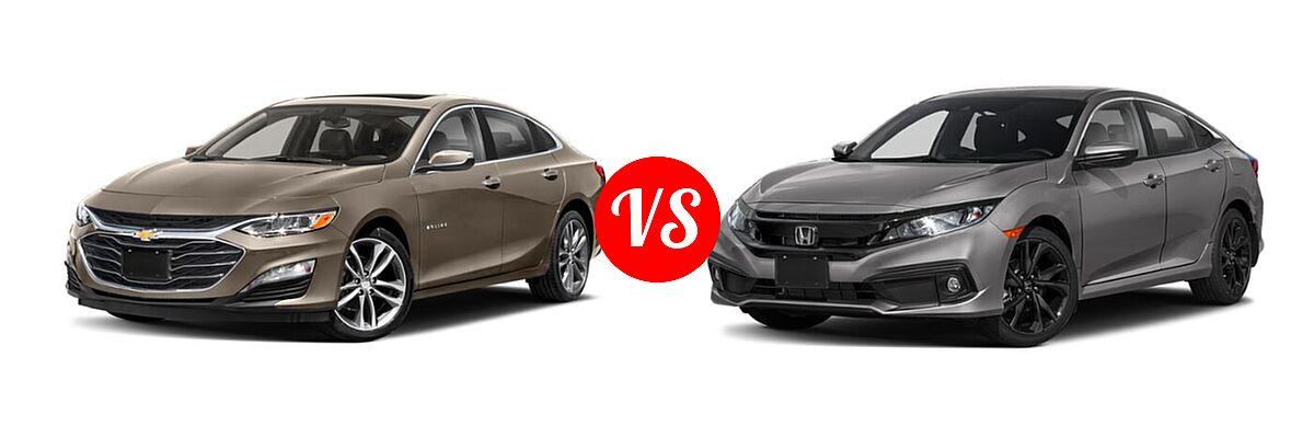 2021 Chevrolet Malibu Sedan Premier vs. 2021 Honda Civic Sedan Sport - Front Left Comparison