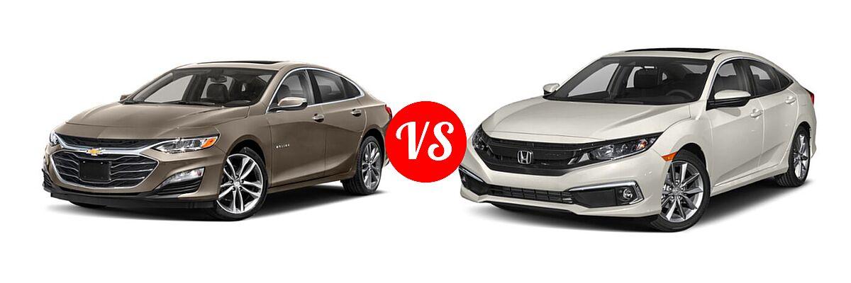 2021 Chevrolet Malibu Sedan Premier vs. 2021 Honda Civic Sedan EX - Front Left Comparison