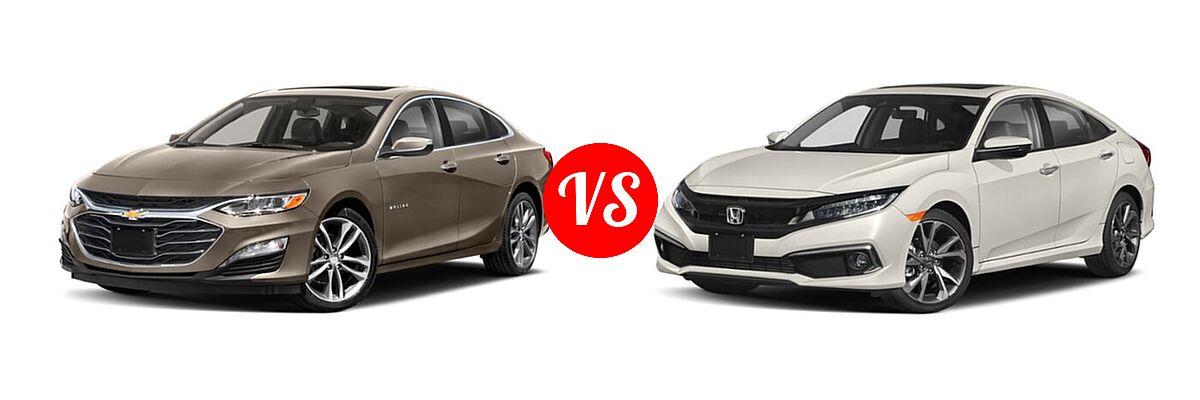 2021 Chevrolet Malibu Sedan Premier vs. 2021 Honda Civic Sedan Touring - Front Left Comparison