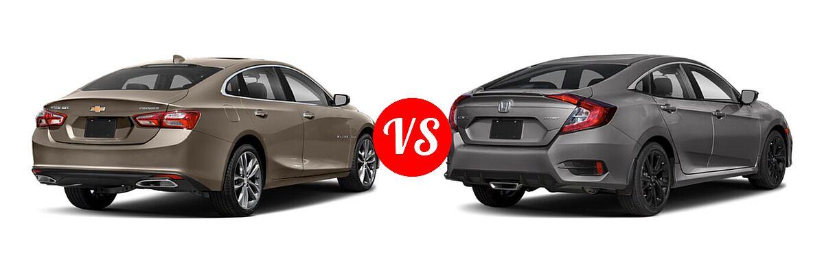 2021 Chevrolet Malibu Sedan Premier vs. 2021 Honda Civic Sedan Sport - Rear Right Comparison