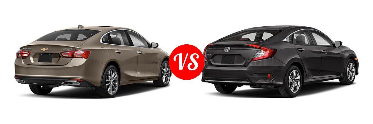 2021 Chevrolet Malibu Sedan Premier vs. 2021 Honda Civic Sedan LX - Rear Right Comparison