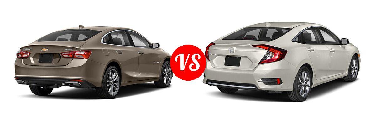 2021 Chevrolet Malibu Sedan Premier vs. 2021 Honda Civic Sedan EX - Rear Right Comparison