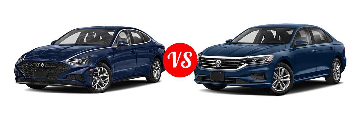 2021 Hyundai Sonata Sedan SEL / SEL Plus vs. 2021 Volkswagen Passat Sedan 2.0T S / 2.0T SE - Front Left Comparison