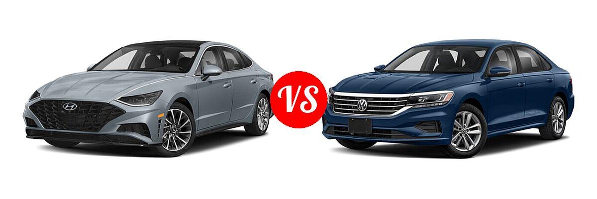 2021 Hyundai Sonata Sedan Limited vs. 2021 Volkswagen Passat Sedan 2.0T S / 2.0T SE - Front Left Comparison