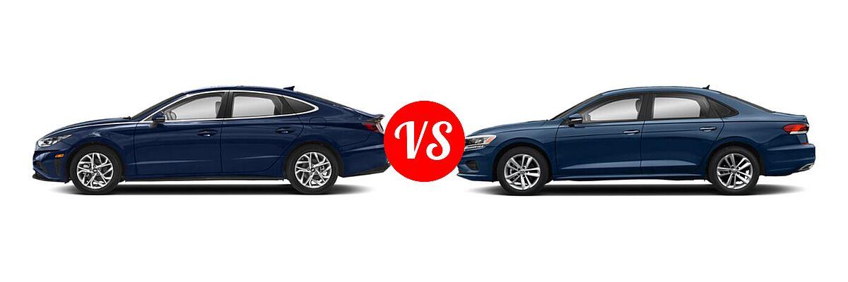 2021 Hyundai Sonata Sedan SEL / SEL Plus vs. 2021 Volkswagen Passat Sedan 2.0T S / 2.0T SE - Side Comparison
