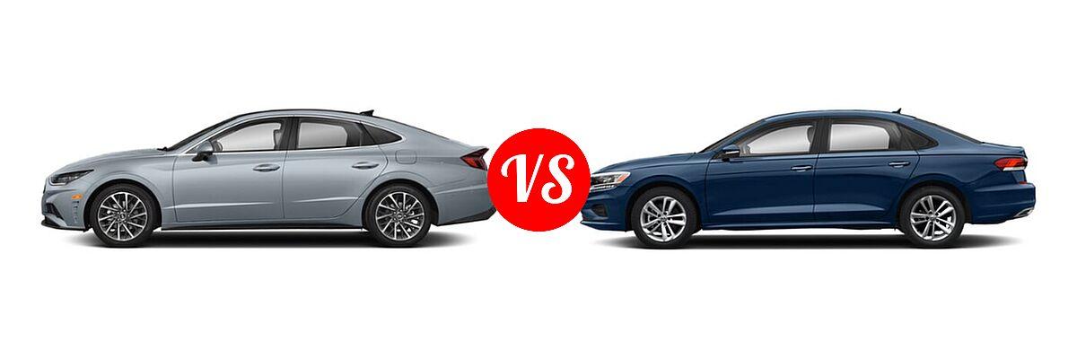 2021 Hyundai Sonata Sedan Limited vs. 2021 Volkswagen Passat Sedan 2.0T R-Line - Side Comparison