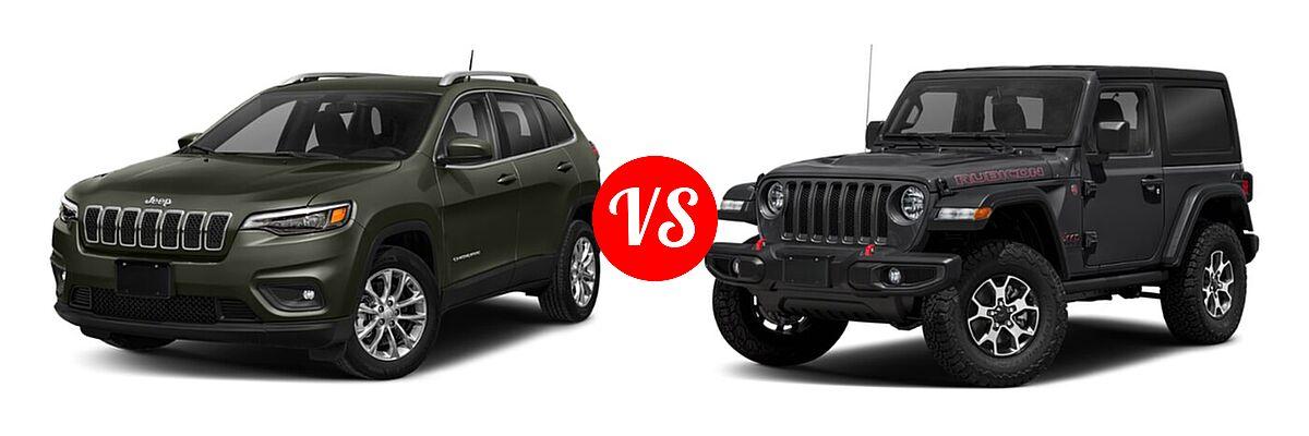 2021 Jeep Cherokee SUV Freedom vs. 2021 Jeep Wrangler SUV Rubicon - Front Left Comparison