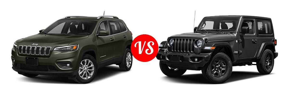 2021 Jeep Cherokee SUV Freedom vs. 2021 Jeep Wrangler SUV 80th Anniversary / Freedom / Islander / Sport / Sport S / Willys / Willys Sport - Front Left Comparison
