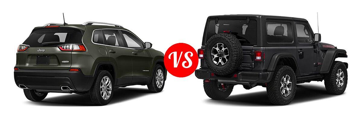 2021 Jeep Cherokee SUV Freedom vs. 2021 Jeep Wrangler SUV Rubicon - Rear Right Comparison