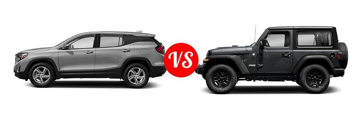 2021 GMC Terrain SUV SLT vs. 2021 Jeep Wrangler SUV 80th Anniversary / Freedom / Islander / Sport / Sport S / Willys / Willys Sport - Side Comparison
