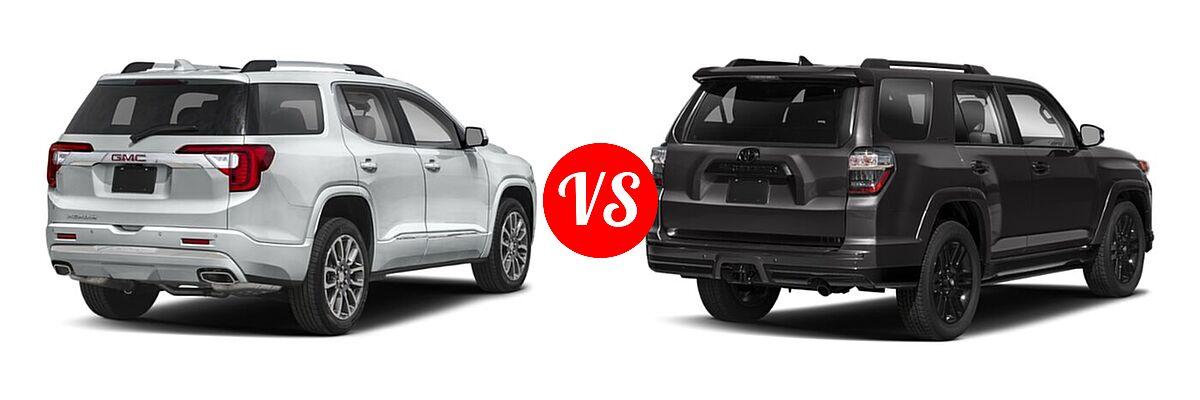 2021 GMC Acadia SUV Denali vs. 2021 Toyota 4Runner SUV Nightshade - Rear Right Comparison