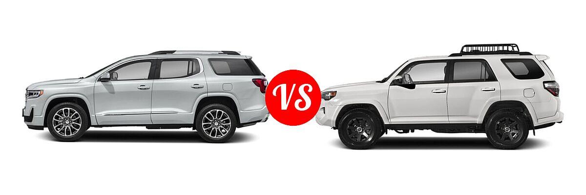 2021 GMC Acadia SUV Denali vs. 2021 Toyota 4Runner SUV Trail Special Edition - Side Comparison