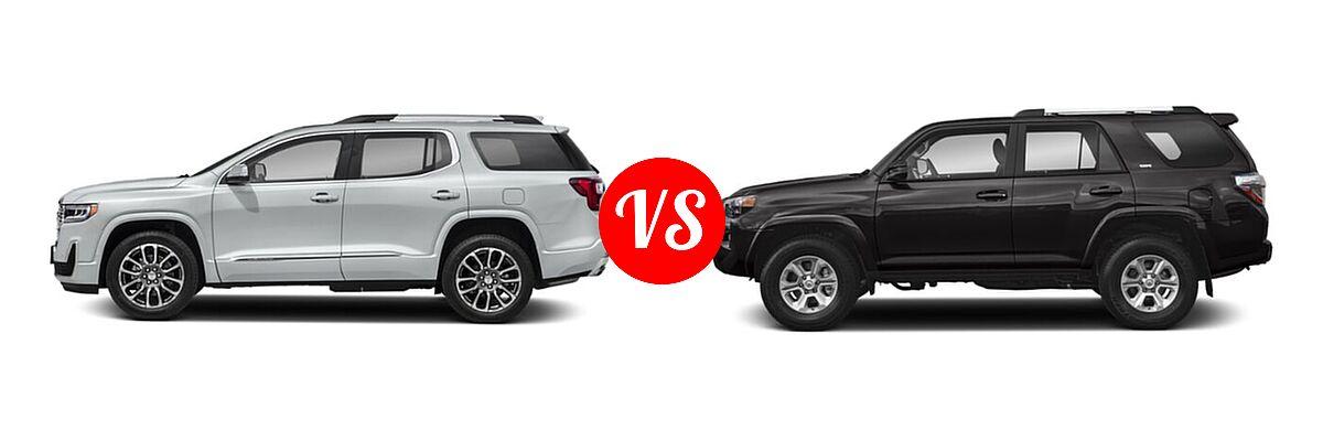 2021 GMC Acadia SUV Denali vs. 2021 Toyota 4Runner SUV SR5 / SR5 Premium - Side Comparison