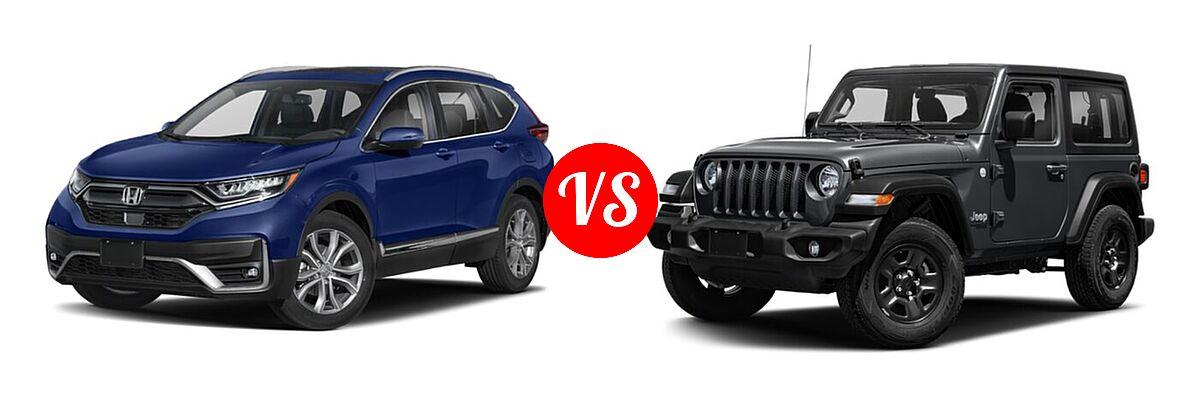 2021 Honda CR-V SUV Touring vs. 2021 Jeep Wrangler SUV 80th Anniversary / Freedom / Islander / Sport / Sport S / Willys / Willys Sport - Front Left Comparison
