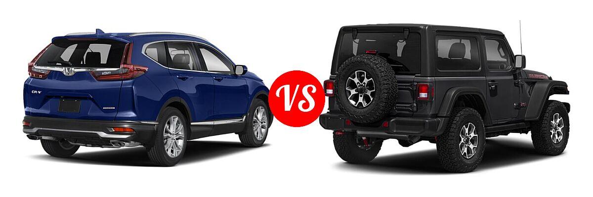 2021 Honda CR-V SUV Touring vs. 2021 Jeep Wrangler SUV Rubicon - Rear Right Comparison