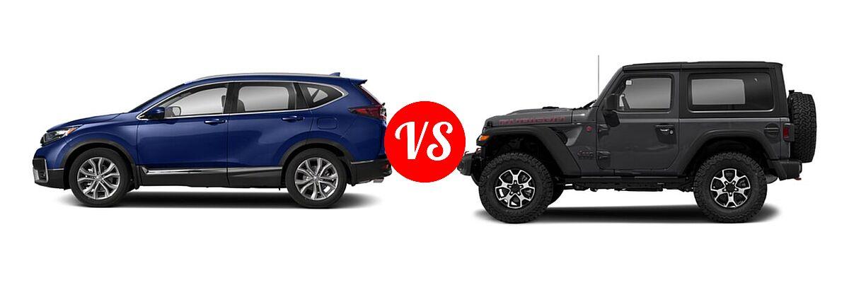 2021 Honda CR-V SUV Touring vs. 2021 Jeep Wrangler SUV Rubicon - Side Comparison