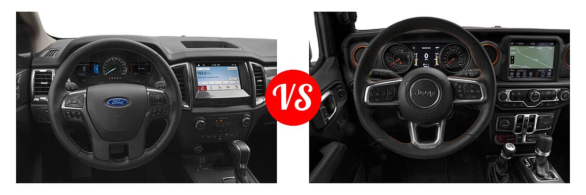 2021 Ford Ranger SuperCab Pickup LARIAT vs. 2021 Jeep Gladiator Pickup Mojave - Dashboard Comparison
