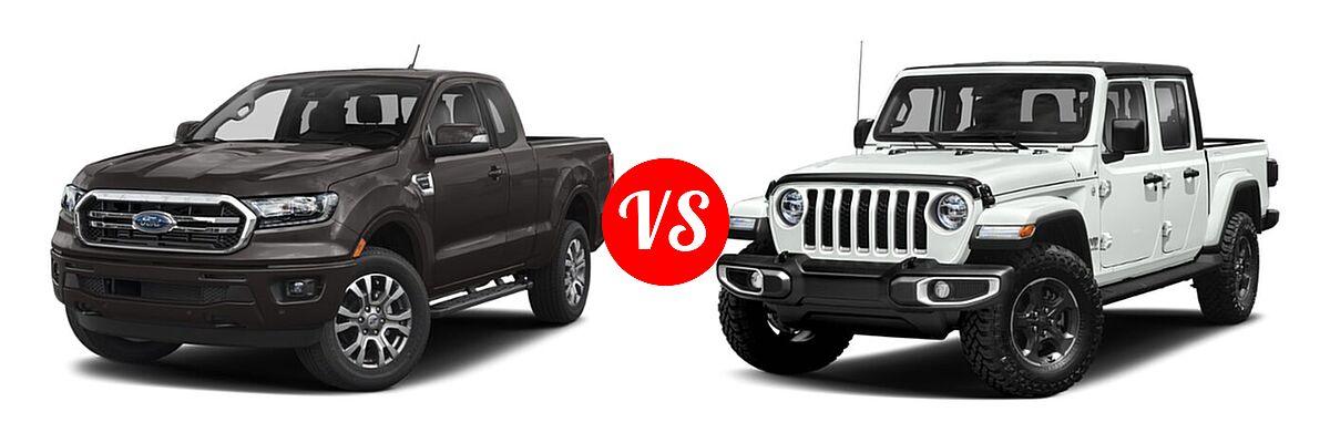 2021 Ford Ranger SuperCab Pickup LARIAT vs. 2021 Jeep Gladiator Pickup High Altitude / Overland - Front Left Comparison