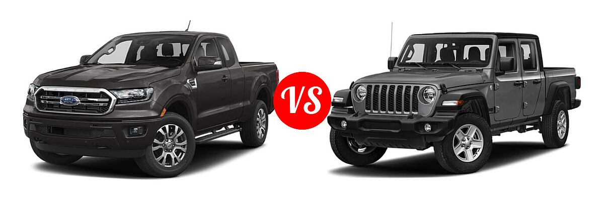 2021 Ford Ranger SuperCab Pickup LARIAT vs. 2021 Jeep Gladiator Pickup 80th Anniversary / California Edition / Sport / Sport S / Willys / Willys Sport - Front Left Comparison