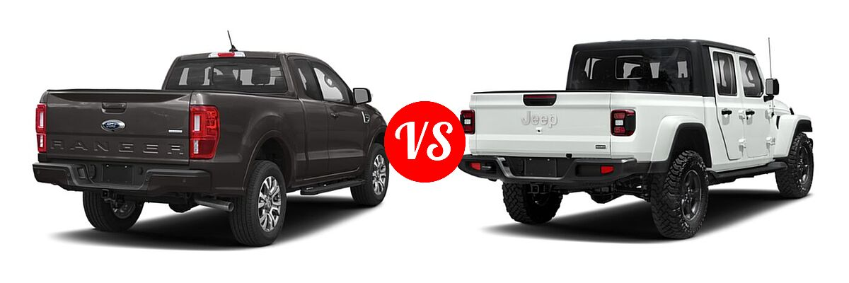 2021 Ford Ranger SuperCab Pickup LARIAT vs. 2021 Jeep Gladiator Pickup High Altitude / Overland - Rear Right Comparison