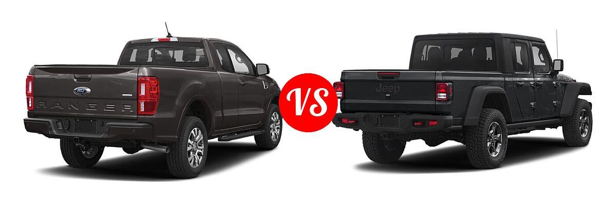 2021 Ford Ranger SuperCab Pickup LARIAT vs. 2021 Jeep Gladiator Pickup Rubicon - Rear Right Comparison