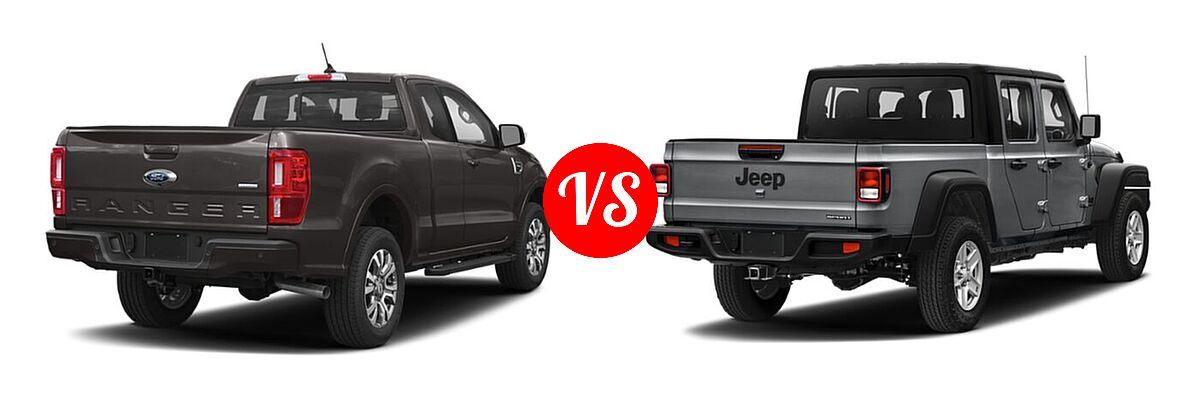 2021 Ford Ranger SuperCab Pickup LARIAT vs. 2021 Jeep Gladiator Pickup 80th Anniversary / California Edition / Sport / Sport S / Willys / Willys Sport - Rear Right Comparison