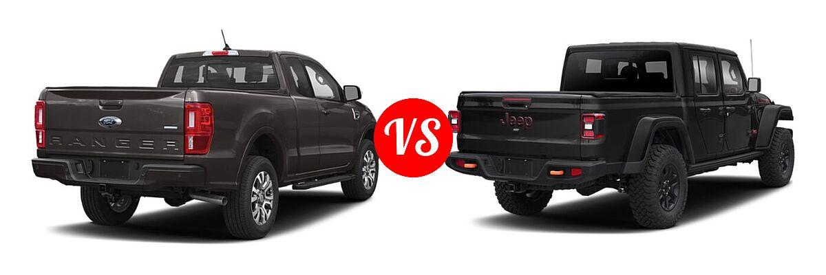 2021 Ford Ranger SuperCab Pickup LARIAT vs. 2021 Jeep Gladiator Pickup Mojave - Rear Right Comparison