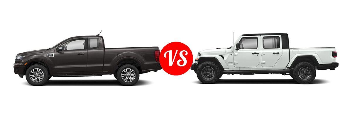 2021 Ford Ranger SuperCab Pickup LARIAT vs. 2021 Jeep Gladiator Pickup High Altitude / Overland - Side Comparison