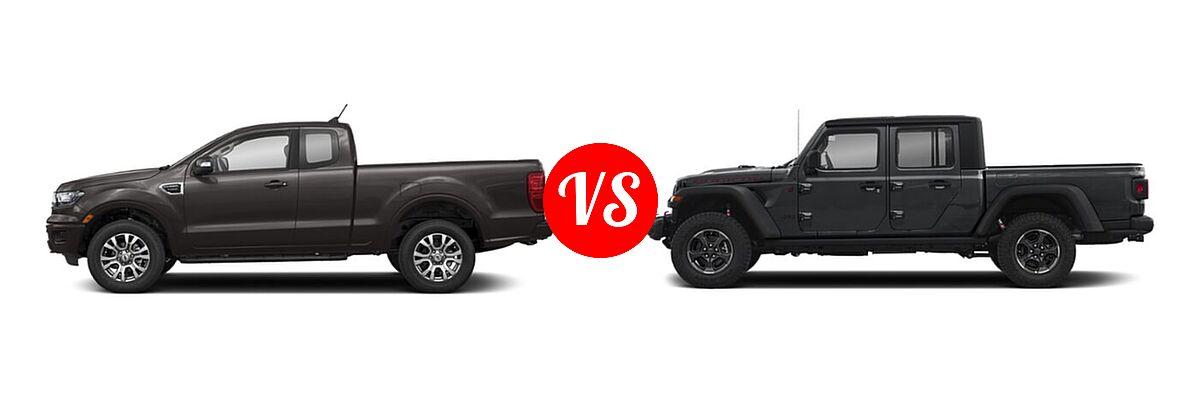 2021 Ford Ranger SuperCab Pickup LARIAT vs. 2021 Jeep Gladiator Pickup Rubicon - Side Comparison