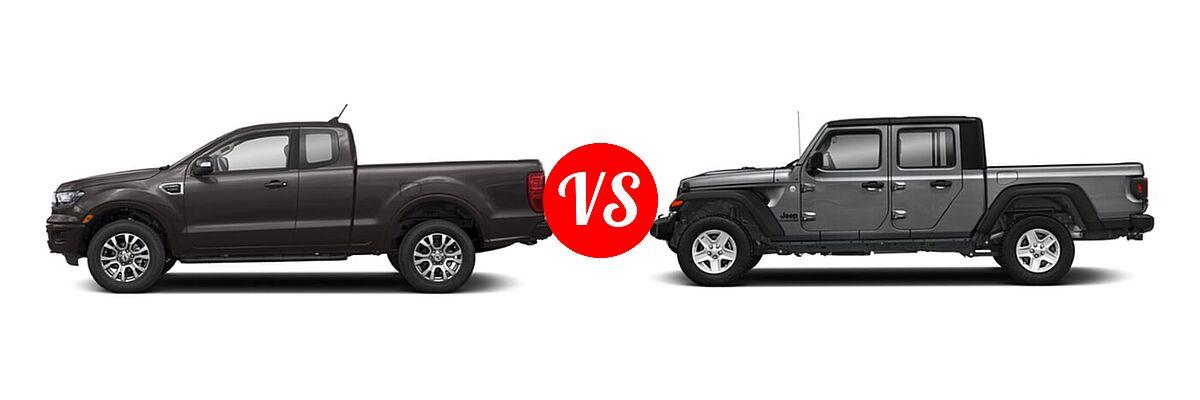 2021 Ford Ranger SuperCab Pickup LARIAT vs. 2021 Jeep Gladiator Pickup Freedom - Side Comparison