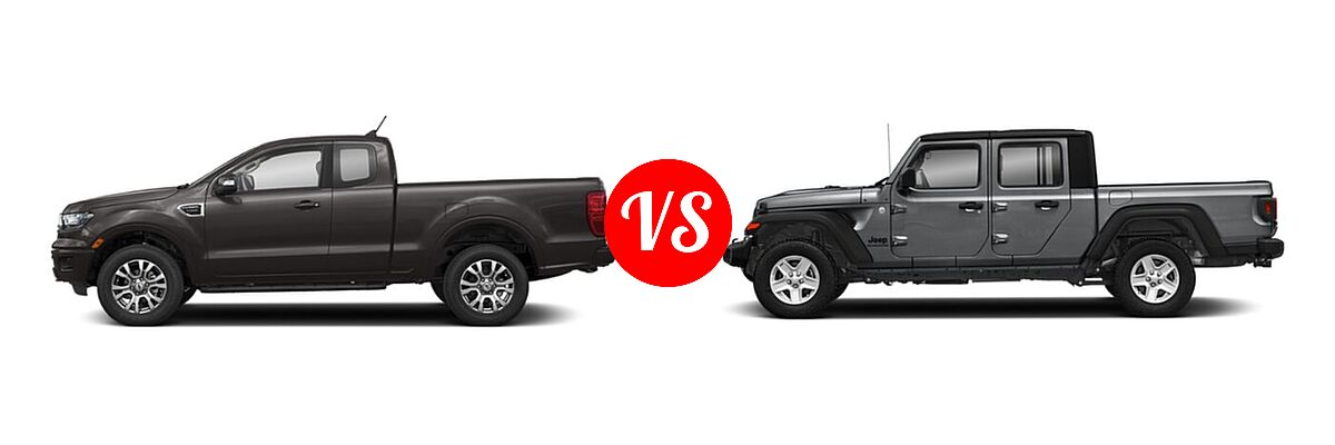 2021 Ford Ranger SuperCab Pickup LARIAT vs. 2021 Jeep Gladiator Pickup 80th Anniversary / California Edition / Sport / Sport S / Willys / Willys Sport - Side Comparison