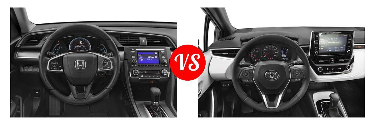 2021 Honda Civic Sedan LX vs. 2021 Toyota Corolla Sedan SE / XSE - Dashboard Comparison