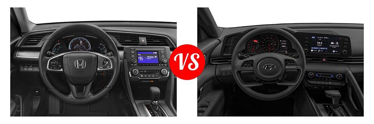 2021 Honda Civic Sedan LX vs. 2021 Hyundai Elantra Sedan  - Dashboard Comparison