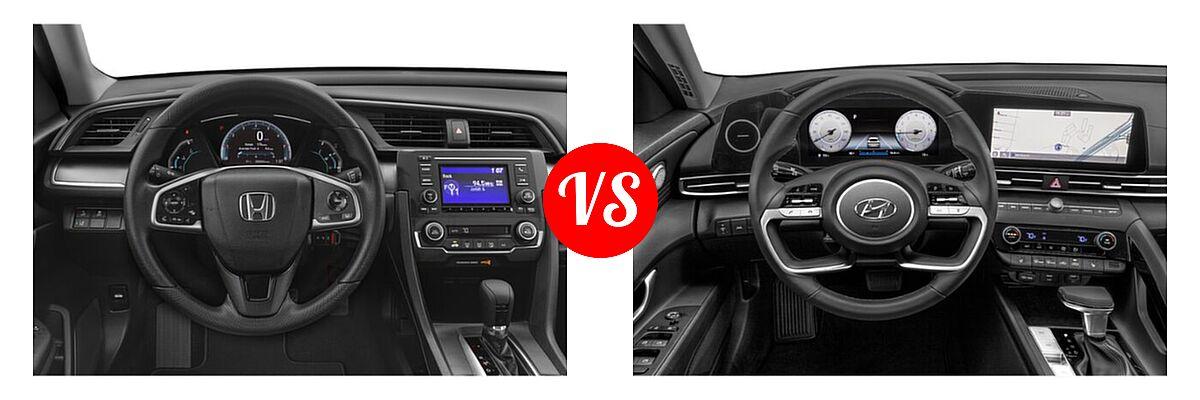 2021 Honda Civic Sedan LX vs. 2021 Hyundai Elantra Sedan N Line - Dashboard Comparison