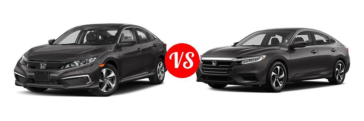 2021 Honda Civic Sedan LX vs. 2021 Honda Insight Sedan Hybrid LX - Front Left Comparison