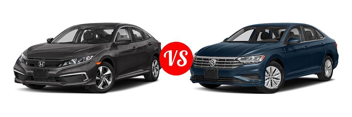2021 Honda Civic Sedan LX vs. 2021 Volkswagen Jetta Sedan S / SE / SEL / SEL Premium - Front Left Comparison