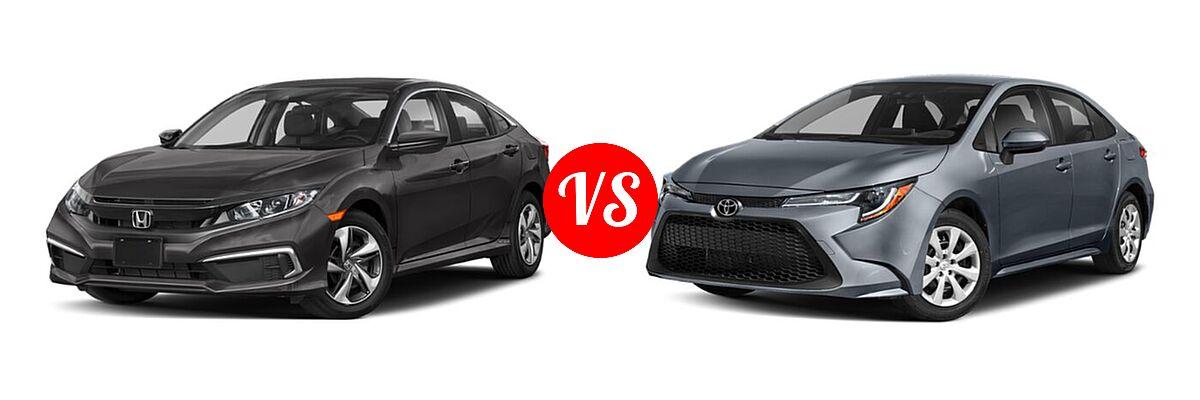 2021 Honda Civic Sedan LX vs. 2021 Toyota Corolla Sedan L / LE - Front Left Comparison