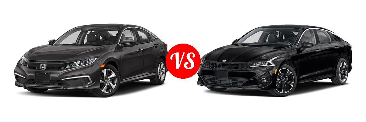 2021 Honda Civic Sedan LX vs. 2021 Kia K5 Sedan GT-Line - Front Left Comparison