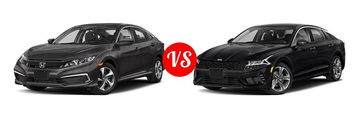 2021 Honda Civic Sedan LX vs. 2021 Kia K5 Sedan EX - Front Left Comparison