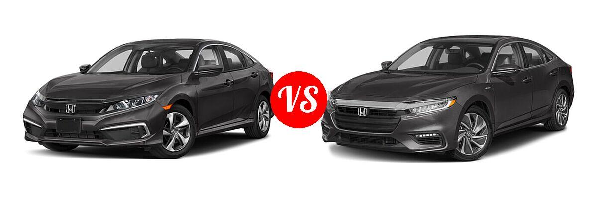 2021 Honda Civic Sedan LX vs. 2021 Honda Insight Sedan Hybrid Touring - Front Left Comparison