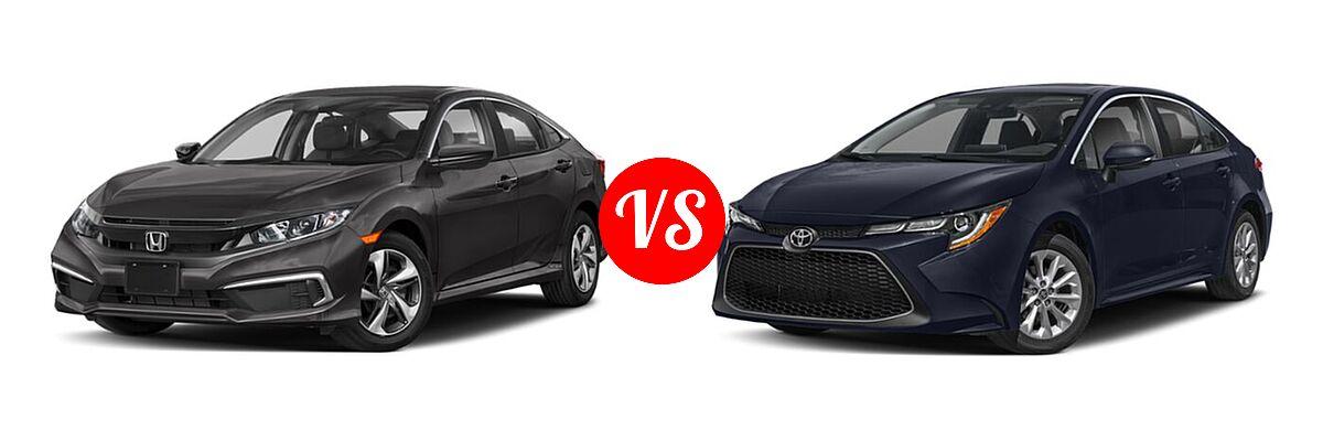2021 Honda Civic Sedan LX vs. 2021 Toyota Corolla Sedan XLE - Front Left Comparison
